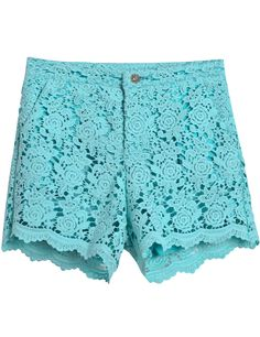 Turquoise Hollow Lace Straight Shorts - Sheinside.com