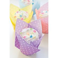Muffin Cup Folded Pastel Polka Dot, Set of 40
