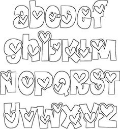 Handlettering Alphabet mit Herzen Convertible top Letters started off that allows you to create signs. Doodle Fonts, Doodle Lettering, Creative Lettering, Lettering Styles, Lettering Ideas, Block Lettering, Lettering Tutorial, Doodle Art, Hand Lettering Alphabet