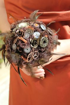 Steampunk Wedding Bouquet with Brown Quilled Flowers and Vintage Pins on Etsy, $155.00