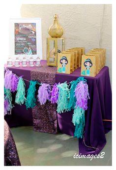 Aladdin Themed Princess Birthday Party via Kara's Party Ideas Jasmin Party, Princess Jasmine Party, Princess Theme Party, Disney Princess Party, Princess Birthday, Princess Sophia, Jasmine Birthday Cake, Aladdin Birthday Party, Aladdin Party