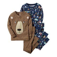 Bunz Kids Boys Dino Snore 3-pc Size 4 Blue Pajama Set