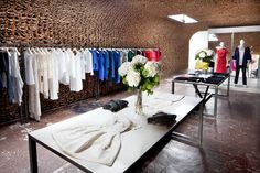 Owen in New York - store made out of 25,000 paper bags. Talk about #recycling. #sustainability