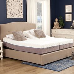 Blissful Nights Gel Memory Foam Mattress and Adjustable Bed Set (Split California King), Gray Bedroom Furniture Stores, Bed Furniture, Best Mattress, Foam Mattress, Twin Xl Bedding, Bedding Sets, California King Mattress, Bed Base, Adjustable Beds