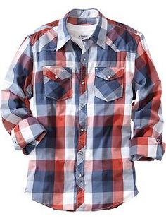 Old Navy Mens Patterned Western Shirts in Red Buffalo Plaid