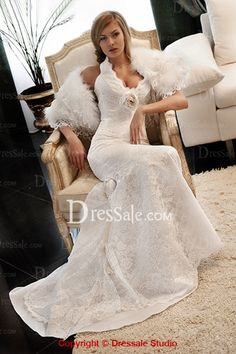 Halter Neckline White Lace Rosette Classy UK Style Wedding Gowns