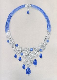 Cartier diamond and blue sapphire necklace | jewelry