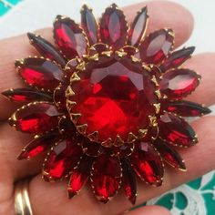 MINTY Signed JUDY LEE Pin RED Rhinestone BROOCH Gold Tone Vintage Flower EC! #signedJUDYLEE