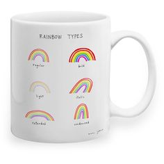 Rainbow Types Mug (€18) ❤ liked on Polyvore featuring home, kitchen & dining, drinkware, food and drink, random and ceramic mugs