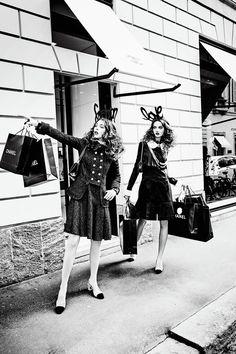 Fun Time in Montenapoleone: Anna Grostina and Vittoria Ceretti by Ellen von Unwerth for Vogue Japan September 2015 - CHANEL Fall 2015