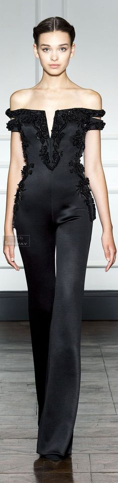 Dilek Hanif Couture FW 2014 - 2015 glamour jumpsuit in black Style Haute Couture, Couture Fashion, Runway Fashion, Beauty And Fashion, Passion For Fashion, High Fashion, Fashion Shoes, Looks Style, My Style
