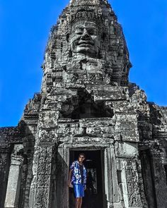 The Bayon Angkor Archaelogical Park Cambodia  . . We will never forget our New Years Eve in Cambodia. This is one of the reasons! Bayon Temple in Angkor Thom is really impressive and beautiful. Its easy to see why its one of the most popular temples in Angkor Archaeological Park. Giorgio decided to match his clothes with the sky this day! #dreamytravelstory . . #bayon #siemreap #cambodia #angkorthom #thebayon #cambodiaphotos #visitcambodia #cambodia101 #angkor #backpackingcambodia…