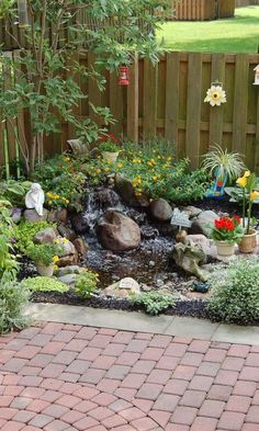 Small Waterfall Pond Landscaping For Backyard Decor Ideas 101 - Backyard Landscaping Small Backyard Landscaping, Ponds Backyard, Landscaping With Rocks, Backyard Patio, Landscaping Ideas, Backyard Ideas, Pond Ideas, Backyard Waterfalls, Landscaping Edging
