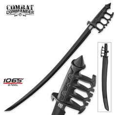 Combat Commander Trench Saber Sword- Combat Commander expertly takes tried and true historical weapon designs and updates them for modern warfare. The Trench Saber Sword is a sleek and modern, battle-ready version of the saber sword, updating the gua Fantasy Sword, Fantasy Armor, Fantasy Weapons, Zombie Weapons, Ninja Weapons, Saber Sword, Armas Ninja, Sword Design, Combat Knives