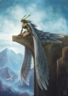Before the flight, angel, fantasy art Dark Fantasy Art, Fantasy Art Women, Fantasy Girl, Mythical Creatures Art, Mythological Creatures, Fantasy Creatures, Magical Forest, Angels And Demons, Fantasy Illustration