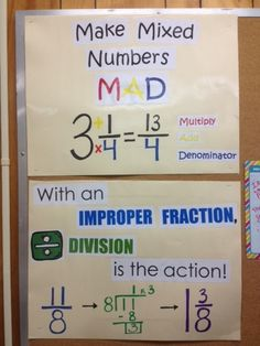 Making Mixed Numbers M.D_Mixed Numbers and Improper Fractions Posters 4th Grade Fractions, Improper Fractions, Fifth Grade Math, Fourth Grade, Dividing Fractions, Teaching Fractions, Multiplication, Math Strategies, Math Resources
