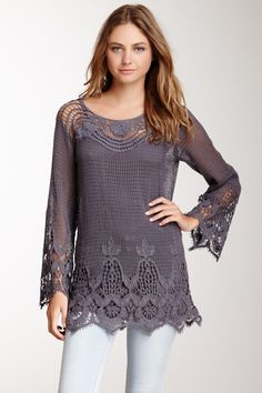 307939b9072 Crochet Long Sleeve Tunic Crochet Shirt