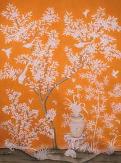 Gracie wallpaper in orange! Hand Painted Wallpaper, Painting Wallpaper, Fabric Wallpaper, Chinoiserie Wallpaper, Chinoiserie Chic, Zuber Wallpaper, Orange Tapete, Gracie Wallpaper, Special Wallpaper
