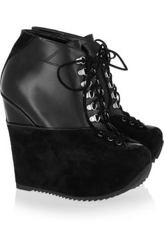 Yves Saint LaurentLeather and suede wedge ankle boots