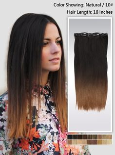 """18"""" Two-Colors ombre Indian remy clip in hair extension uso118 (8 pcs-100g) ombre colors: black on top and brown on bottom"""