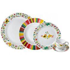 Jogo de Jantar Passarinhos Coloridos (30 peças) - Presentes Criativos