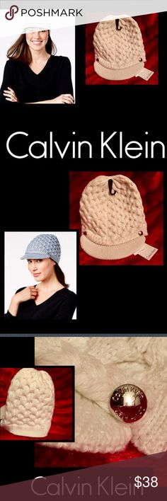 🆕Calvin Klein 🌹Cream Cable Knit Hat🌹 Baby its cold outside🌹Stylish and Cozy this cable knit🌹 looks great on the slopes and running around town🌹shapes a short brim cabbie hat🌹silver logo rivets🌹 connecting a heavy braid🌹wool blend🌹hand wash🌹 Calvin Klein Accessories Hats