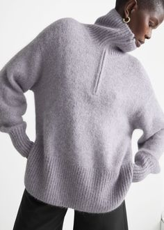Oversized Half-Zip Sweater - Lilac - Sweaters - & Other Stories