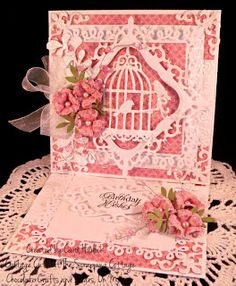 Chocolate Crafts and Bears, Oh My: Cottage Cutz Glittering Birdcage