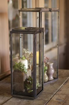 Set of Two Tall Rectangle Lanterns