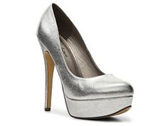 Michael Antonio Lily Metallic Platform Pump synthetic silver 5.25h sz7.5 29.94