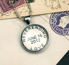 Your special date - custom 'Neverending Love' postmark style necklace or keychain, by CrowBiz
