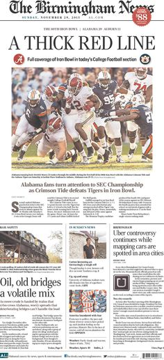 Iron Bowl Front Pages | Newseum - The Birmingham News #Alabama #RollTide…