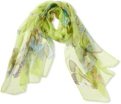 SILK BUTTERFLY SCARF (several colours) Hanson Womens 100% Silk Butterfly Pattern Scarf (Brown): Clothing