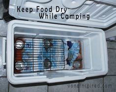 HOW TO KEEP YOUR FOOD DRY IN A COOLER WHILE CAMPING Genius !!! Place ice and cans at the bottom of the cooler. Place cooling racks on top of the cans. Now you have a nice dry shelf to place food on. – Outdoor Ideas