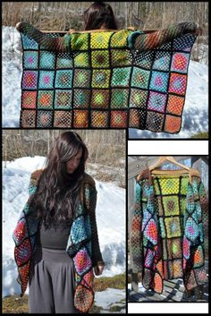 granny square cardigan. Ok so normally I want my cardigan to button up & have pockets, but this is just awesome as it is.