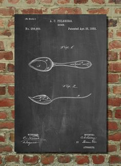 Spoon Patent print Wall Art Poster Blueprint by PatentPrints