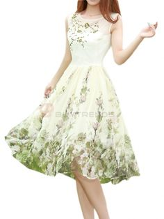 Witching Sleeveless Vintage Chiffon Floral Printed Tie Waist Knee-Length Casual Dress #fall #dress #fashion