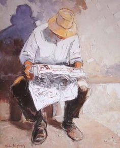 """""""Man Reading Newspaper"""" by Andre Deymonaz, (France, ……re pinned by Maurie Daboux ♪ ♪ Guy Drawing, Life Drawing, Watercolor Sketchbook, Watercolor Art, Newspaper Drawing, Portrait Art, Portraits, Composition Art, Reading Art"""