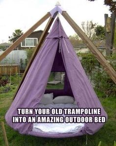 Turn your trampoline into an outdoor bed! Available on awesomeinventions.com