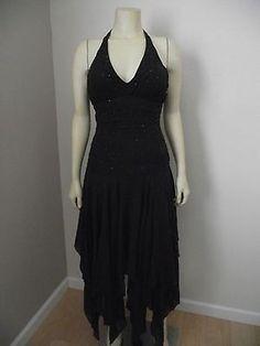 NINA AUSTIN Dark Gray DRESS XS PROM DANCE WEDDING dress Silk Beaded Holiday