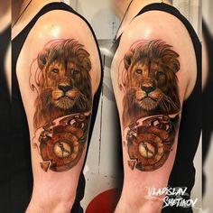 Best Lion and Clock Tattoo Designs Body Tattoo Design, Clock Tattoo Design, Clock Tattoos, Tattoo Designs, Weird Tattoos, Body Tattoos, Sleeve Tattoos, Lion Tattoo, Pet Names