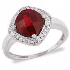 Riddle's Jewelry Ladies Garnet and Diamond Ring in White Gold (03914630)