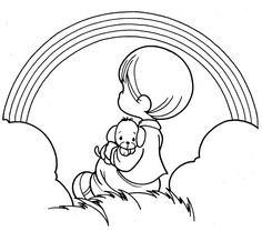 precious+moment+coloring+pages | Boy seeing a rainbow - precious moments coloring pages