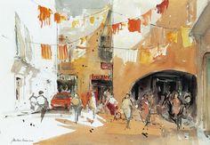 Museu de l'Aquarel·la - J. Martinez Lozano - Llançà Watercolor Sketch, Watercolor Landscape, Abstract Landscape, Gouache Painting, Watercolor Paintings, Name Art, Urban Sketching, Art Sketchbook, Art Pictures