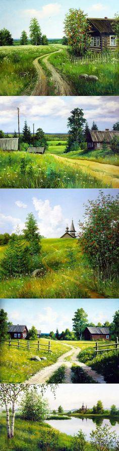 Луг, околица, домишко…(художник Курицын Сергей). Обсуждение на LiveInternet   искусство