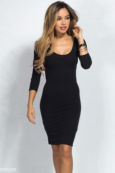Scoop Neck Jersey Bodycon Casual Black Midi Dress with Sleeves