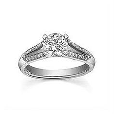 Engagement Ring with 0.163 CT. T.W. side diamonds, Round Shape