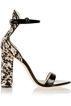 J.Crew + Sophia Webster Nicole patent-leather and calf hair sandals | NET-A-PORTER