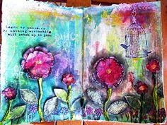 Art Journal Spread - Flowers