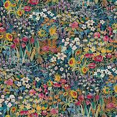 Buy Faria Flowers Velvet from The Secret Garden Collection by Liberty Art Fabrics, with flowers in full bloom, printed in green, peacock & marigold. Liberty Art Fabrics, Liberty Of London Fabric, Liberty Print, Textile Patterns, Textile Prints, Print Patterns, Floral Patterns, Deco Floral, Motif Floral